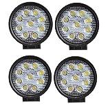 AGPtek [4 Pack] 27W 12V 24V LED Faro de Trabajo, Foco para Tractor Carro Coche, Impermeable y Brillante (4 Focos)