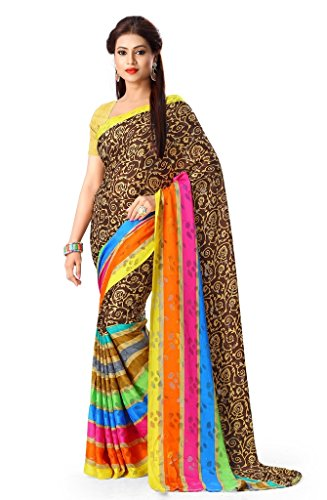 Gl Sarees Brasso Saree (Gl0447_Half Brown Half Multi-Coloured)