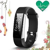JoyGeek Cardiofrequenzimetro, bracciale intelligente, tracciatore di attività sportiva, orologio intelligente con controlli per musica e fotocamera, monitoraggio del sonno, podometro, conta calorie, gps, notifiche per chiamate e sms, per iPhone 6/6 Plus/7/7 Plus, Samsung S7/Note/S8Huawei Mate 9/P9/P10.