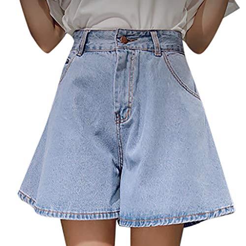 Pantaloni donna jeans larghi strappati pantaloncini vita alta denim shorts ragazza push up bermuda mare pantalone cerimonia ragazze pantaloncino con elastico in vita con tasche