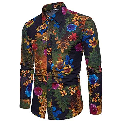 96f8a15c89 BHYDRY Camisa Casual de Manga Larga para Hombre Camisa Slim fit de Negocios  Blusa Estampada Top