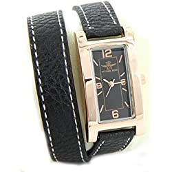 Zeigt Damen schwarz Leder double-bracelet Michael John 2224