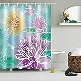 LNAG DuschvorhäNge 3D Digitaldruck Polyester Wasserdichte Dicke Libelle , 150*180