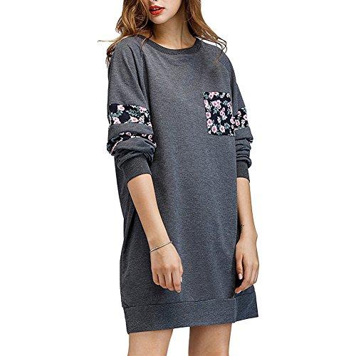 869e08c99ffdf7 ... Damen Langarm Sweatshirt Kleid Rundhals Patchwork Pullover Kleid  Mädchen Oberteil Mit Tasche Grau ...