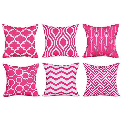 wuayi 6 Stück/Set Fashion Geometrische quadratische Dekorative Überwurf-Kissenbezüge für Zuhause Sofa Dekor, Baumwollmischung, hot pink,...