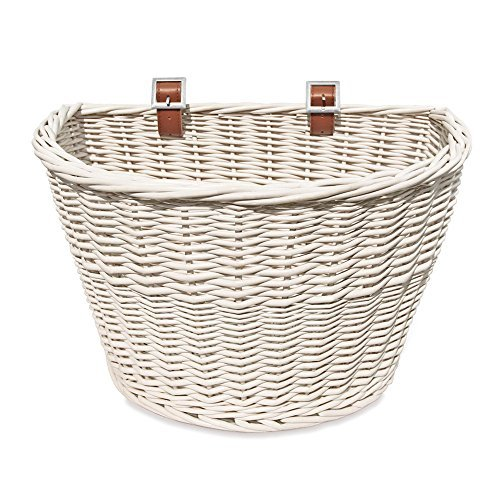 Colorbasket 01570 Adult Front Handlebar Wicker Bike Basket, White by Colorbasket -