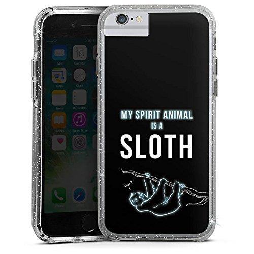 Apple iPhone 7 Plus Bumper Hülle Bumper Case Glitzer Hülle Faultier Sloth Phrases Bumper Case Glitzer silber