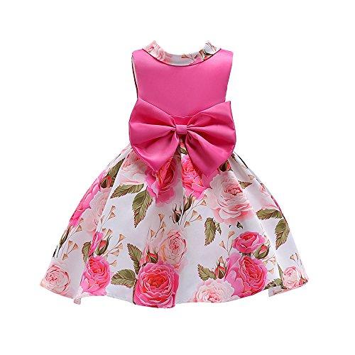 UFODB Baby Kleider Für Mädchen, Kinder Bowknot Prinzessin Kleid Blumenmädchenkleid Taufkleid Festlich Hochzeit Partykleid Festzug Babybekleidung Blumen Spitze Tüll ()