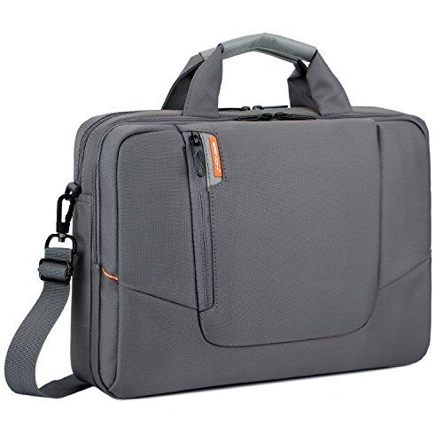BRINCH 15,6 Zoll Laptop Tasche Arbeit Umhängetasche Business Messenger Bag Aktentasche mit Griffe und abnehmbaren Schulterriemen Schultertasche für 15 - 15,6 Zoll Laptop / MacBook / Notebook / Chromebook / Computer,Grau
