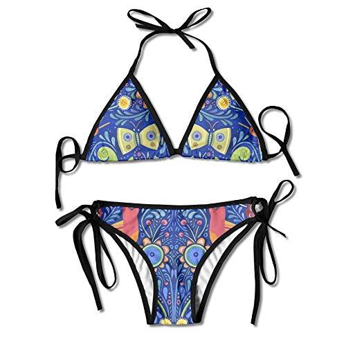 Love Bird Taliking Women's Tie Side Bottom Bikini Suits Two Pieces Swimwear