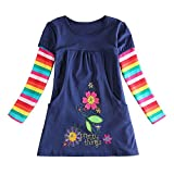 OverDose Nettes Kleinkind Baby Kind Blumen Druck Stickerei-Prinzessin Party Kleid Bluse Dress Langarm T-shirts Party Kleid Mini Kleid (6T,A-Navy )
