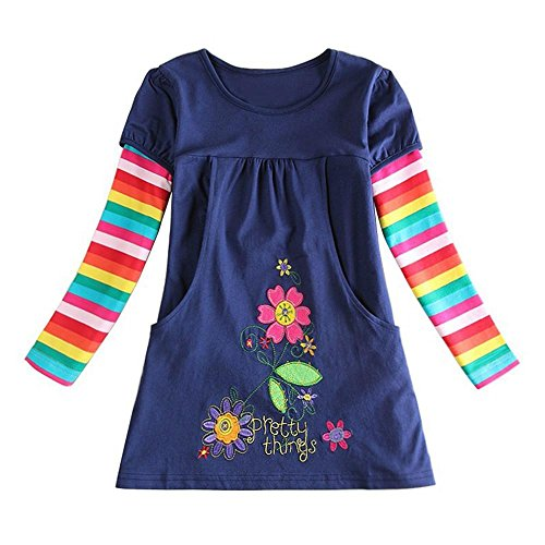 OverDose Nettes Kleinkind Baby Kind Blumen Druck Stickerei-Prinzessin Party Kleid Bluse Dress Langarm T-shirts Party Kleid Mini Kleid (6T,A-Navy ) (Blumen-kinder-t-shirt)