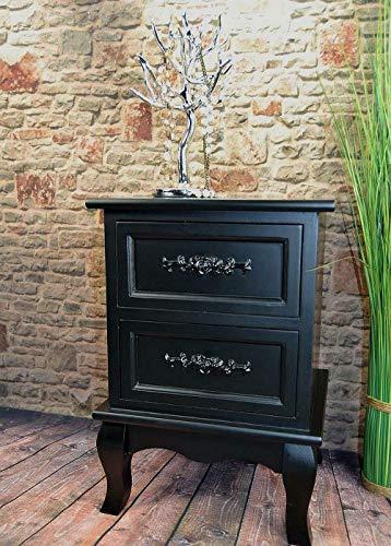 Livitat® Nachttisch Nachtschrank Nachtkonsole Nachschränckchen Nachtkommode barock LV4032 (Schwarz, 2 Schubladen) -