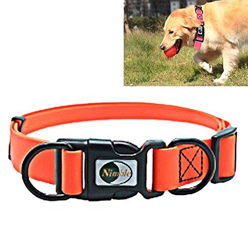 Happy-L Heimtierbedarf, Verstellbares PVC-Material Wasserdichter Dual-Loop-Hundehalsband, Geeignet für Wilde Hunde, Größe: M, Halsbandgröße: 30-47 cm (Farbe : Orange) (So So Happy Hoodie)