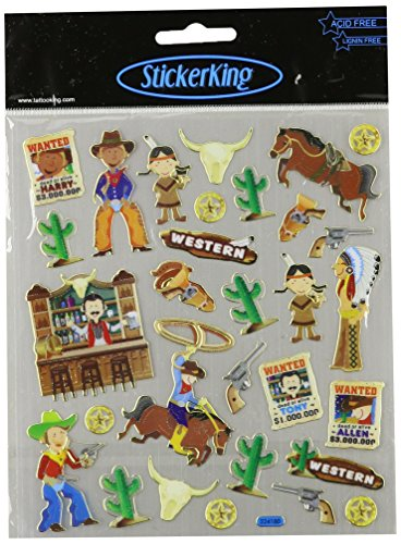 Tattoo King Multicolored Stickers-Cowboys & Indians