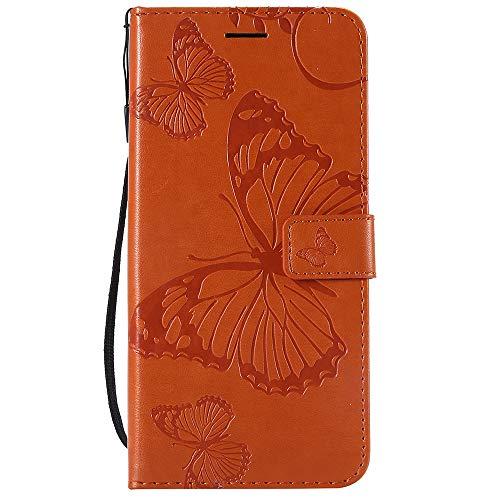 Dfly Caso Honor 8X, Superior Delgada de La PU en Relieve de Cuero de La Tarjeta de Función Süß Diseño Pata de Cabra Ranuras de Soporte del Funda para Huawei Honor 8X, Orange