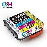 OFFICE HELPER - 33 / 33XL Tintenpatronen für Epson Drucker Expression Premium XP-900 XP-830 XP-645 XP-640 XP-635 XP-630 XP-540 XP-530, (1 * schwarz, 1 * Foto schwarz, 1 * blau, 1 * rot, 1 * gelb)