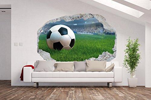 Vlies Fototapete / Poster XXL /3D Wandillusion /Loch in der Wand *Fußball*FußballStadion*Ball*Kinderzimmer*