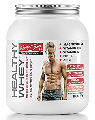 Adrian James Nutrition - Healthy Whey Protein Powder with Glutamine and Amino Acids, Low Sugar Protein Shake, 33 Servings, 1 Kilogram from Adrian James Nutrition
