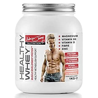 Adrian James Nutrition - Healthy Whey Protein Powder with Glutamine and Amino Acids, Low Sugar Protein Shake, Strawberry Flavour, 33 Servings, 1 kg