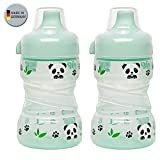 NIP Trainer Cup 260 ml // 2er Set Panda hellgrün // ab 9 Monate // auslaufsicherer, fester Trinkschnabel // BPA frei, made in Germany //