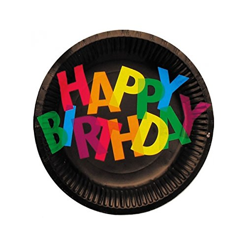 Party pro-assiettes 22cm Happy Birthday Black X6, 401755