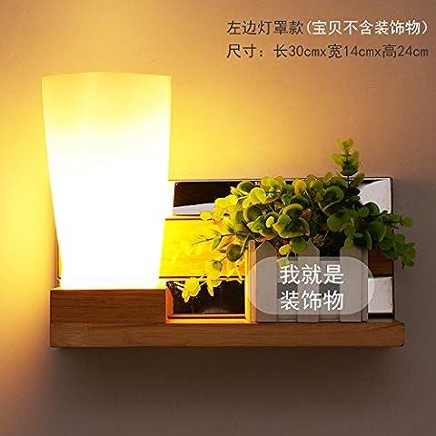 BESPD Japanese-Style Holz- minimalistischen modernen skandinavischen Wandleuchte Led für Wohnzimmer Schlafzimmer Flur Leseraum Links Treppe Haube + 3 W (Moderne 3 Tier Beleuchtung)