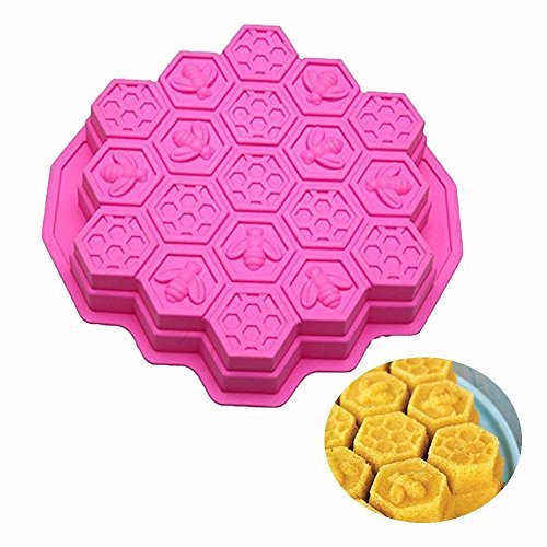 ESA Supplies 19 Cavities Honeycomb Cake Molds Silicone Soap Making Molds Pull-Apart Dessert Pan Candy Baking Cake Moulds