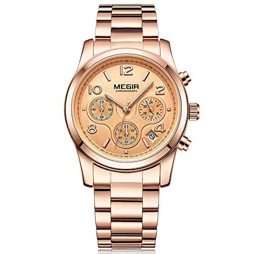 MEGIR Montre Femme Décontracté Analogique Quartz Bracelet en Acier Inoxydable Or Rose Gold Chronographe et Etanche Business Style Casual Luxe Montre