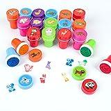 Timbri Giocattolo 26 Pezzi, Timbri Bambini, Xiaoyao Francobolli Animali, Auto Inchiostrazione Plastica Animali for Kids Bambini.