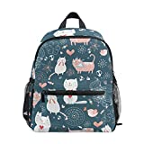 FAJRO Schultasche für Mädchen mit Katzenmotiv