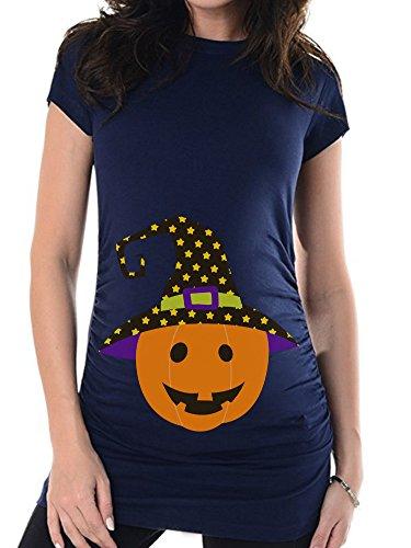 HALLOWEEN, Kürbis 1 Gr. 38 (M), Umstandsmode individualisierbar, Schwangerschafts T-shirt von bellytime, Kostüm für Schwangere, bedrucktes Umstandsshirt für die werdende Mama, Geschenk, witzig, (Kostüme Halloween Schwangere Baby Und Mama)