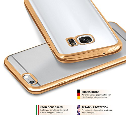 iPhone 5S Hülle Silikon Transparent Pink [OneFlow Chrom Back-Cover] Silikonhülle Dünn Schutzhülle Handyhülle für iPhone 5/5S/SE Case Ultra-Slim Tasche TPU GOLD