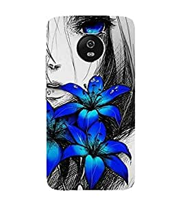Bluethroat animated sketch of a girl with blue flowers Back Case Cover for Motorola Moto G5