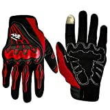 #8: Pitzo Axe Racing Full Finger Riding Gloves (Red, Large)