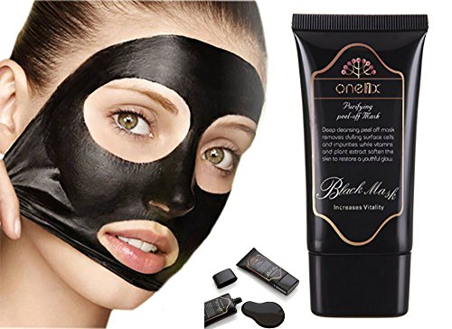 ONE1X Beauty Activated Natural Charcoal Black Mask Blackhead Peel Off Remover Cream Deep Skin Clean Purifying Peel Acne Mud Nose and Face Mask 50gms Bottle