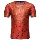T-Shirt Africain, Malloom Chemise à Manches Courtes à Manches Courtes pour Hommes (XL, Rouge(G))