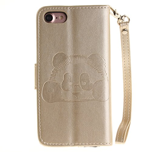 iPhone 7 Custodia in pelle,iPhone 7 Cover Wallet,Felfy Elegante Colorate Gufo Printed Design Flip Cover Chiusura Magnetica Custodia Copertura di Vibrazione Portafoglio Stile del Libro con Cinturino da Panda Oro