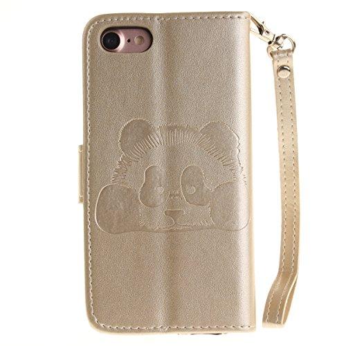 Ekakashop Custodia iphone 7 4.7 inch, Cover iphone 7 2016 model, Elegante borsa Custodia in Pelle Protettiva Flip Portafoglio libro Case Cover per Apple iphone 7 4.7 inch / con Carte Slot / Chiusura M Oro