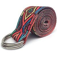 Nider Cinturón elástico para Yoga, patrón Colorido, Correas de Ejercicio Ajustables, Hebilla en D, cinturón elástico para Practicar Yoga, Color Rojo