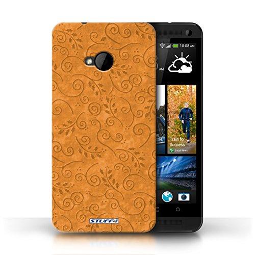 Kobalt-swirl (KOBALT® Hülle Case für HTC One/1 M7 | Orange Entwurf | Blatt-Strudel-Muster Kollektion)