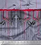 Soimoi Grau Viskose Chiffon Stoff Regenschirm & Zebra