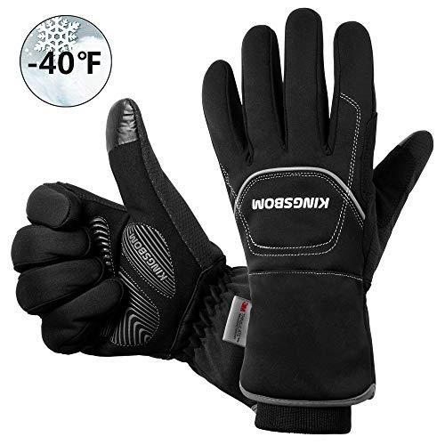 KINGSBOM Wasserdichte & Winddichte Thermo-Handschuhe – 3M Thinsulate Winter Touch Screen Warme Handschuhe – zum Radfahren, Reiten, Laufen, für Outdoor-Sport – für Frauen und Männer – Schwarz (M)