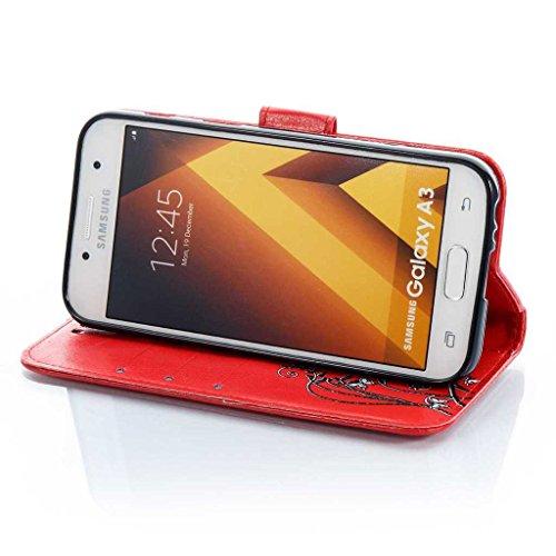 Galaxy S8 Hülle [mit Frei Hartglas Displayschutzfolie], BoxTii® Galaxy S8 Schutzhülle mit Kartenfächern, Premium Lederhülle Ledertasche Handyhülle mit Standfunktion für Samsung Galaxy S8 (#4 Schwarz) #2 Rot