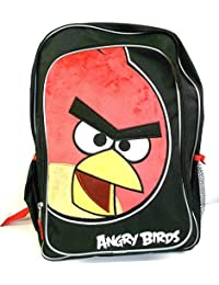 """Angry Birds School Backpack 16"""" Large Bag W/ Big Red Bird Furry Face Licensed"""