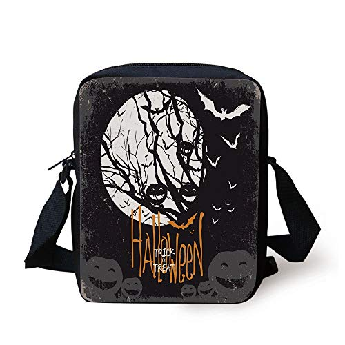 CBBBB Vintage Halloween,Halloween Themed Image with Full Moon and Jack o Lanterns on a Tree Decorative,Black White Print Kids Crossbody Messenger Bag Purse Halloween Green Lantern