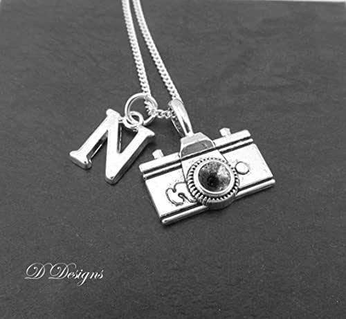 """Camera Necklace Personalised, Sterling Silver Necklace, 18"""" Chain, !6"""" Necklace, Photography Gifts"""