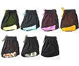 Damen 2 in 1 Fitness Shorts Kurze Sporthose Doppelt Gitter Atmungsaktiv Verbindung Farben Hosen (S/M, Blau) - 2
