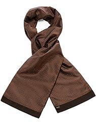 Mailando Herrenschal aus Kaschmir-Woll-Mix und Seide, Kachel Muster gepunktet, sehr elegant, braun – weiss