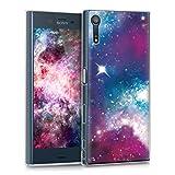 kwmobile Hülle für Sony Xperia XZ / XZs - TPU Silikon Backcover Case Handy Schutzhülle - Cover klar Space Design Mehrfarbig Pink Schwarz